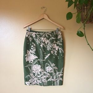 Tracy Reese Skirts - Tracy Reese Silk Pencil Skirt Embroidered Sz 6